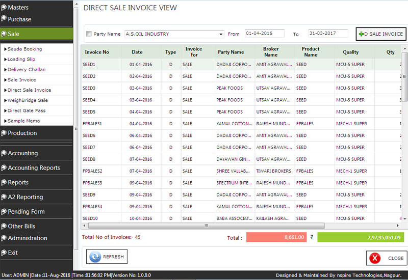 Cotton Accounting Direct Sale Invoice View